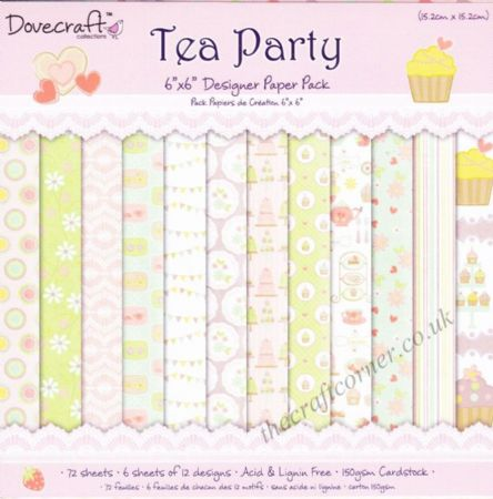Tea Party Designer Paper Pack by Dovecraft Available In Various Sizes